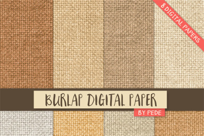 Burlap digital paper pack