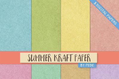 Summer kraft digital paper pack