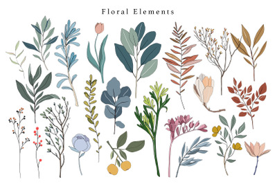 24 Digital floral collection - PNG clipart collection, Beautiful flora
