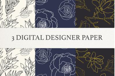 Ornamental floral Digital Papers, Scrapbook Paper Set