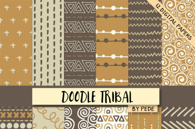 Brown and orange tribal digital paper pack
