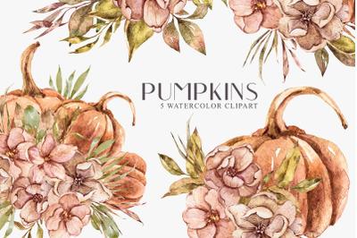 Watercolor pumpkin bouquet clipart. Thanksgiving floral set