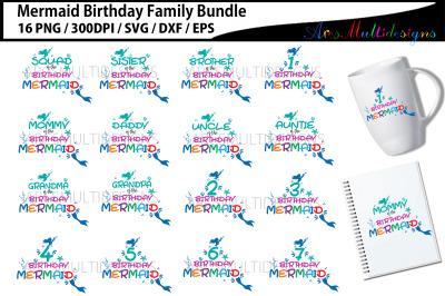Mermaid birthday family bundle