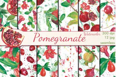 Pomegranate watercolor seamless patterns