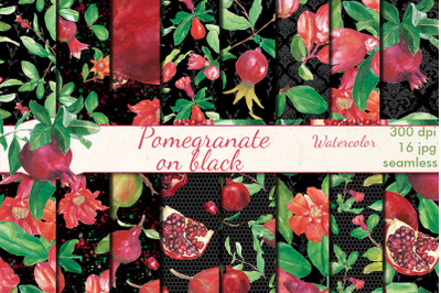 Pomegranate on black watercolor seamless patterns