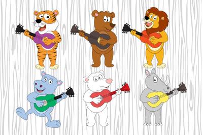 cute animal cartoon playing guitar