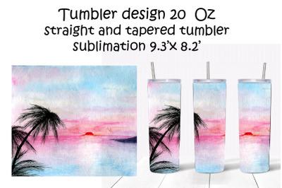 Tumbler Design 20oz.Sublimation.Watercolor Sunset Landscape
