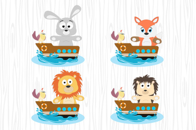 cute animal cartoon with boat