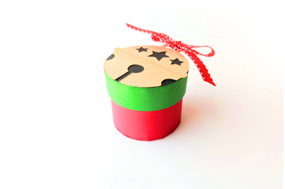 Christmas Sleigh Bell Round Gift Box | SVG | PNG | DXF | EPS