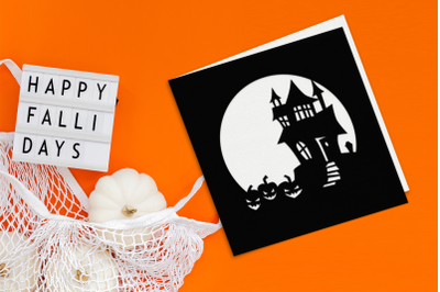 Halloween Haunted House Papercut Card | SVG | PNG | DXF | EPS