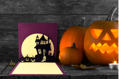 Halloween Haunted House Pop Up Card | SVG | PNG | DXF | EPS
