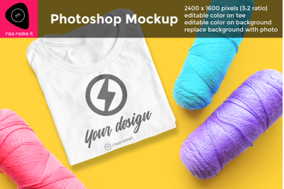Tee Shirt with Scattered Yarn | Photoshop Mock Up