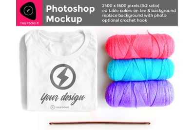 Tee Shirt with Row of Yarn | Photoshop Mock Up