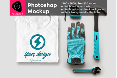 Folded Tee Shirt with Tools | Photoshop Mock Up
