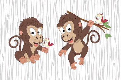 cute monkey and bird cartoon