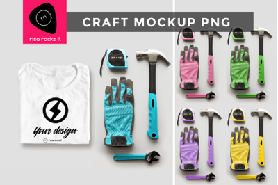 Folded Tee Shirt with Tools | PNG Mockup