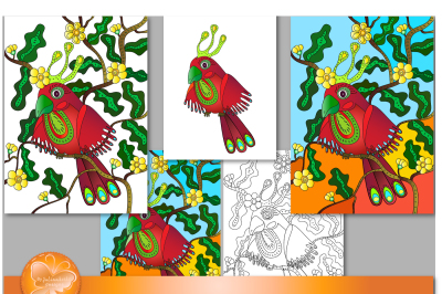 An image of a red parrot sitting on a tree. EPS 10, PNG on a transparent background, a JPEG, of excellent quality.
