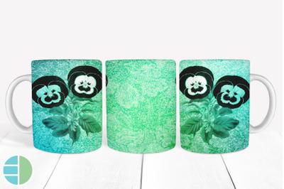 Teal Mug Sublimation Flower Pansy Mug