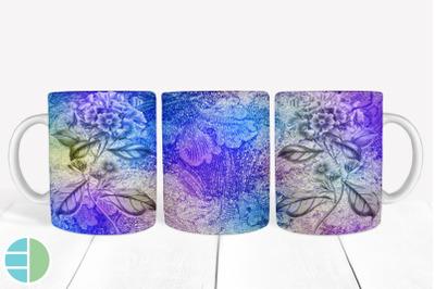 Purple Mug Sublimation Flower Mug