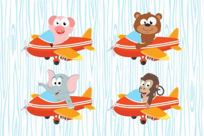 cute animal cartoon with plane