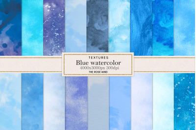 Blue watercolor digital paper