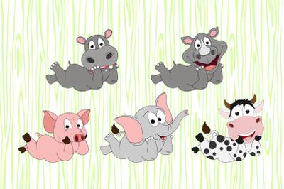 cute animal cartoon pose illustration