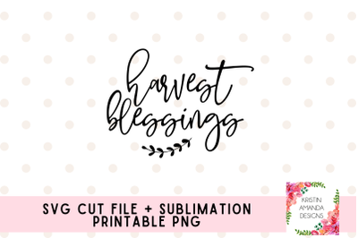 Harvest Blessings Farmhouse Fall SVG Cut File Sublimation PNG