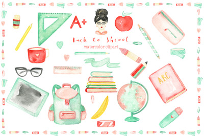 Back to School. Watercolor Clipart
