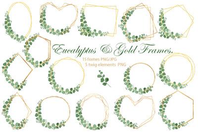 Eucalyptus. Frame. Wedding. Gold Frames. PNG. JPG.