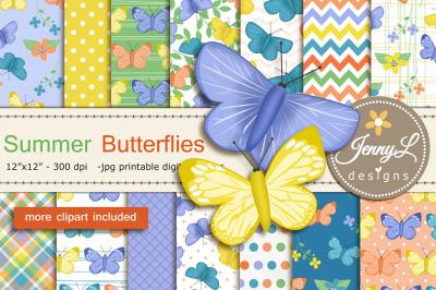 Butterflies Digital Papers & Clipart