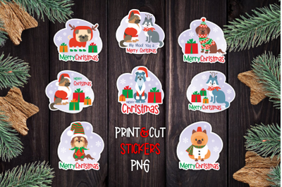 Christmas Dog Stickers PNG