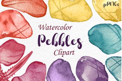 Watercolor pebbles Clipart Illustration, Watercolor Stones