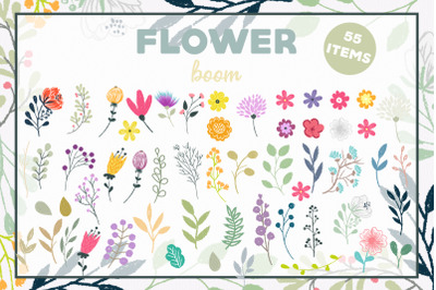 Flower boom - Digital vector and png files, Flower clipart