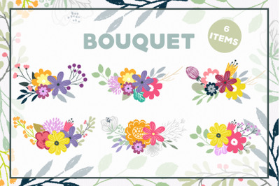 6 Bouquets floral clipart, Flowers beautiful clipart, PNG and vector