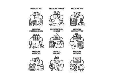 Medical Aid Job Set Icons Vector Illustrations
