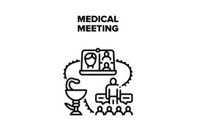Medical Meeting Vector Concept Black Illustration