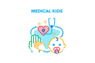 Medical Kids Vector Concept Color Illustration