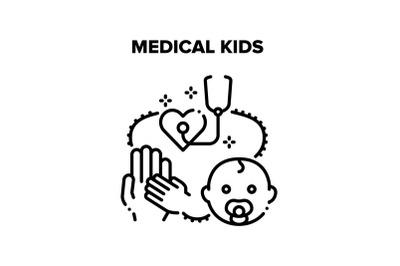 Medical Kids Vector Concept Black Illustration