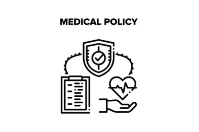Medical Policy Vector Concept Black Illustration