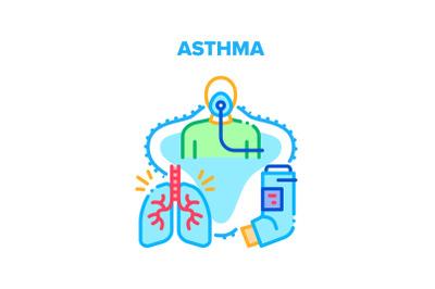 Asthma Disease Vector Concept Color Illustration