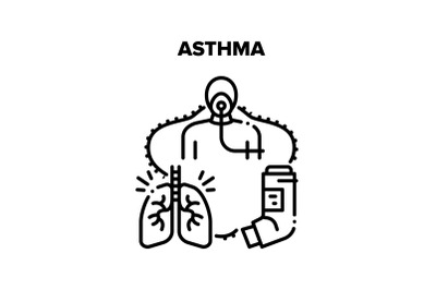 Asthma Disease Vector Concept Black Illustration