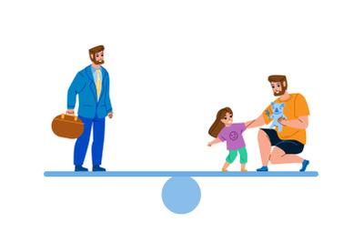 Man Work Career And Family Life Balance Vector