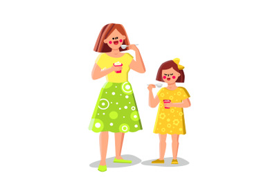 Woman And Girl Eating Yogurt Healthy Food Vector