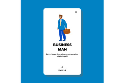 Business Man Going At Work With Suitcase Vector