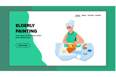 Elderly Woman Painting Creative Picture Vector