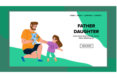 Father With Daughter Playing Togetherness Vector