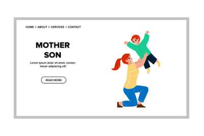 Mother And Son Playing Together In Park Vector