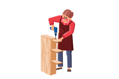Handyman Assemble Furniture With Equipment Vector