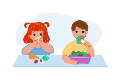 Children Eat Vitamin Fruits And Vegetables Vector