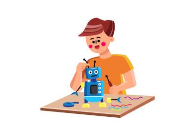 Child Building Or Repairing Mechanic Robot Vector